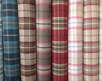 Stunning Porter And Stone Wool Effect Fabric Balmoral Tartan Plaid Check 19 Colours Curtains Upholstery