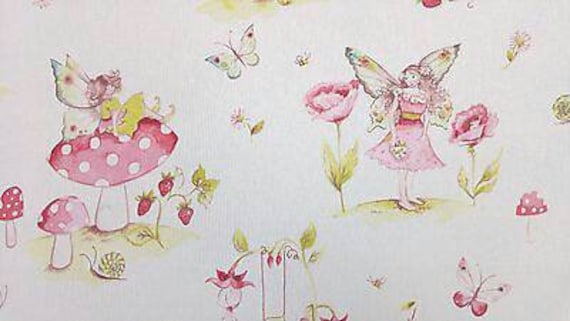 iLiv Toadstools Pink Curtain Upholstery Craft Designer Cotton Fabric