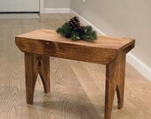 Rustic Country Stool. Farmhouse Front Porch Bench.