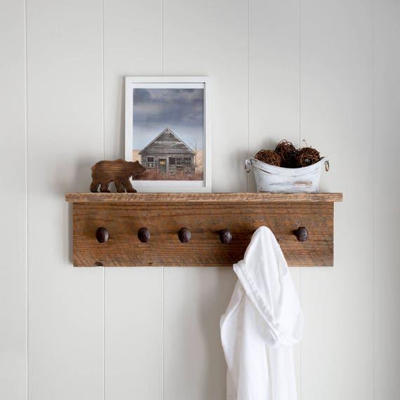 Barn Wood Shelf Rustic Coat Rack With Shelf Reclaimed Barn Etsy Best Reclaimed Barn Wood Coat Rack