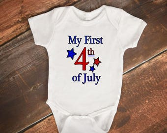 """Baby Onesie - """"My First 4th of July"""""""