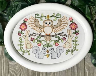 Owl, Rabbit, and Squirrel Framed Embroidery Art - Nursery Art - Woodland Art - Rustic Decor - Baby Shower Gift