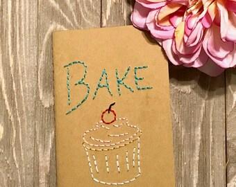 Cupcake Bake Journal Embroidered Hoop Art - Handmade Journal - Gift for Baker