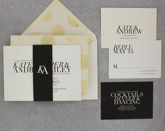 Wedding Invitations, Modern Wedding Invitations, Classic, Black and White, Urban Chic, Big Type - Kate Wedding Invitation Deposit