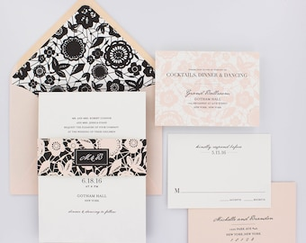 Wedding Invitations, Classic Wedding Invitations, Sweet, Elegant, Romantic, Blush, Black and White - Classic Lace Wedding Invitation Deposit