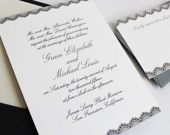 Wedding Invitation, Calligraphy Wedding Invitation, Classic, Elegant Wedding Invitations, Wedding Invitation Suite - Lace Border Deposit