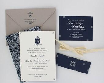 Wedding Invitations, Floral Wedding Invitation, Black and Gold, Roses, Modern, Urban Chic Wedding Invitation - Legacy Sample