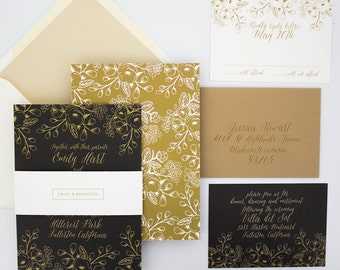 Wedding Invitation, Elegant Wedding Invitation, Garden Wedding, Modern, Sweet, Romantic, Floral Wedding Invitation - Floral Frame Deposit