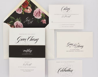Wedding Invitations, Classic Wedding Invitations, Elegant, Urban Chic, Romantic, Pink and Red Roses - Grace Wedding Invitation Deposit