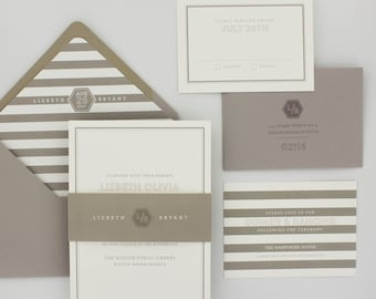 Modern Stripes Wedding Invitations Suite, Elegant, Urban Chic Wedding Invitation - Revere Wedding Invitations | Sample