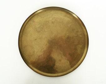 Mid Century Modern Brass Tray / Round German Gold Minimalist Tray