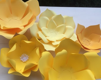 Golden yellow paper millinery flowers large sized roses 1 yellow paper flower set mightylinksfo