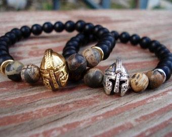 Helmet Bracelet, Warrior Bracelet, Mens Onyx Bracelet, Gladiator Bracelet, Mens Black Bead Bracelet, Spartan Warrior Bracelet