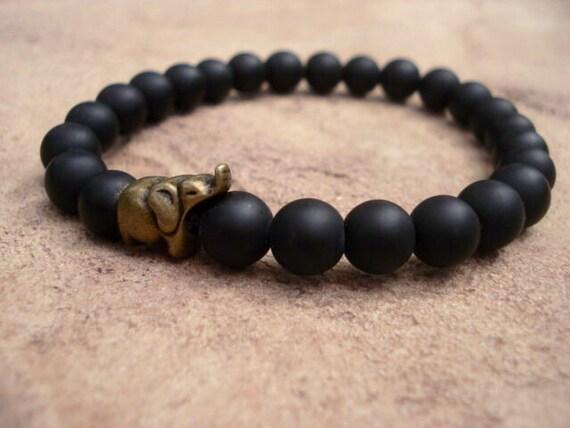 Mens Black Bead Bracelet Black Onyx Bracelet Elephant Etsy
