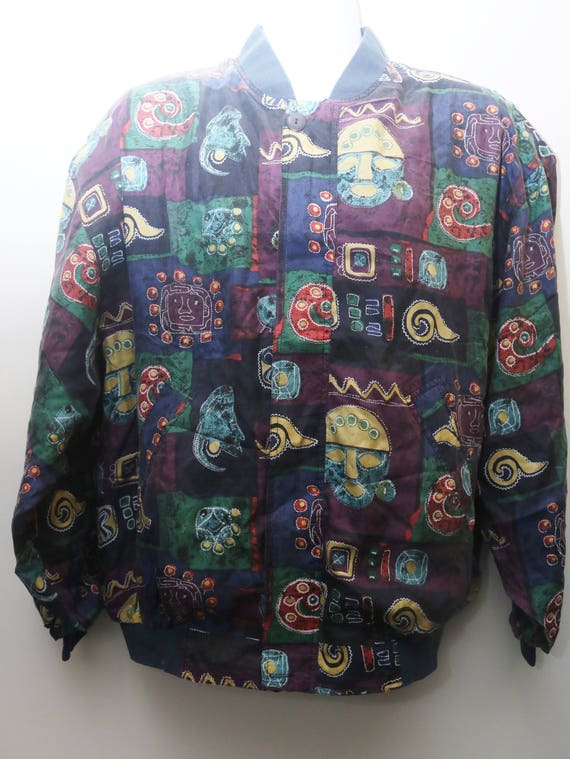 "Rare 80's Vintage ""RAMBO"" Silk Abstract Patterned"