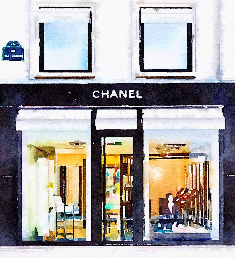 4d85e124fa DIGITAL ART PRINT from Watercolor Painting Chanel Paris Store | Etsy