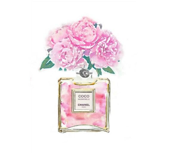 Coco mademoiselle digital art print pink no 5 perfume bottle etsy image 0 mightylinksfo