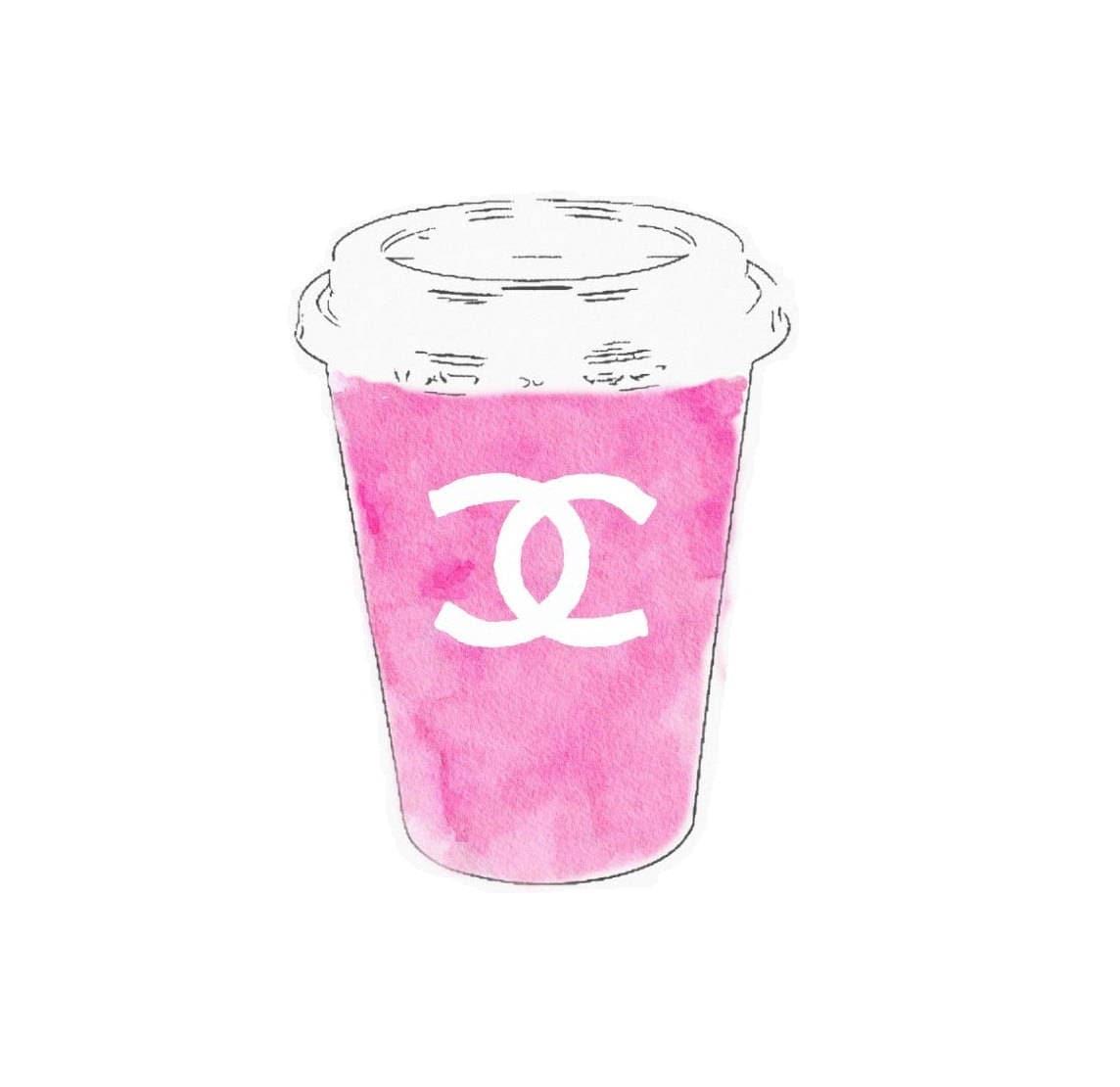 DIGITAL ART PRINT Pink Espresso Coffee Cup Chanel Watercolor   Etsy