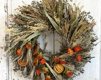 Autumn Citrus and Grains Wreath