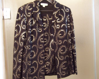 St John Marie Gray Vintage Knit Leather Gold Accents Turtleneck Top Size P Sweaters