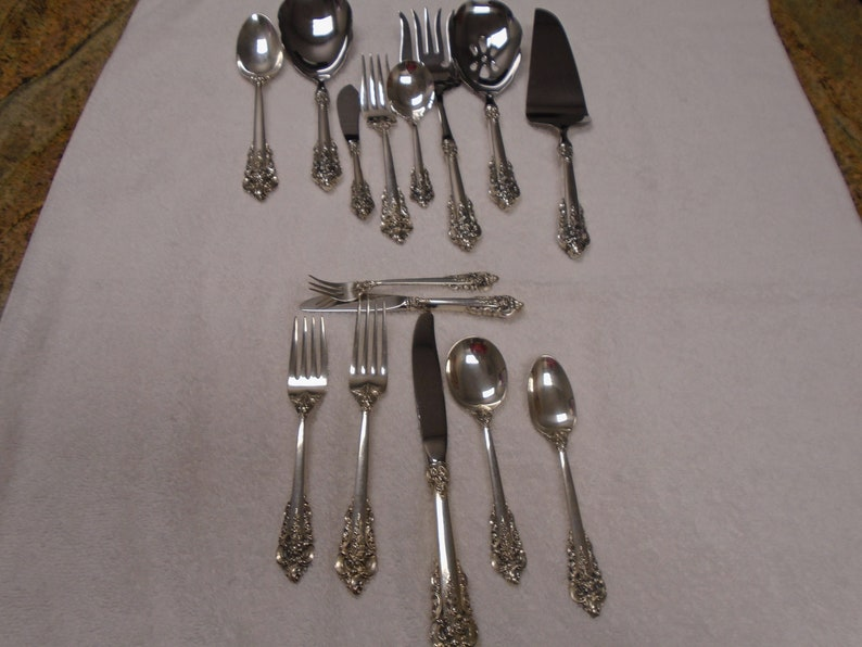 Wallace Grande Baroque Sterling 5 piece Luncheon place setting.