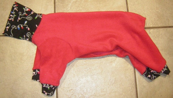 CHRISTMAS Red with Green Trim  Poodle Italian Greyhound Chinese Crested 4 legs PJ Sweater Toy Dog Coat