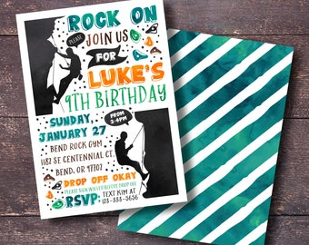 Rock Climbing Invitation Birthday Gym