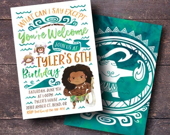 Maui Invitation Birthday Moana Party Surf