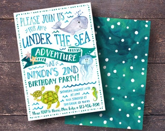 Under The Sea Invitation Birthday Boys Watercolor Ocean Party