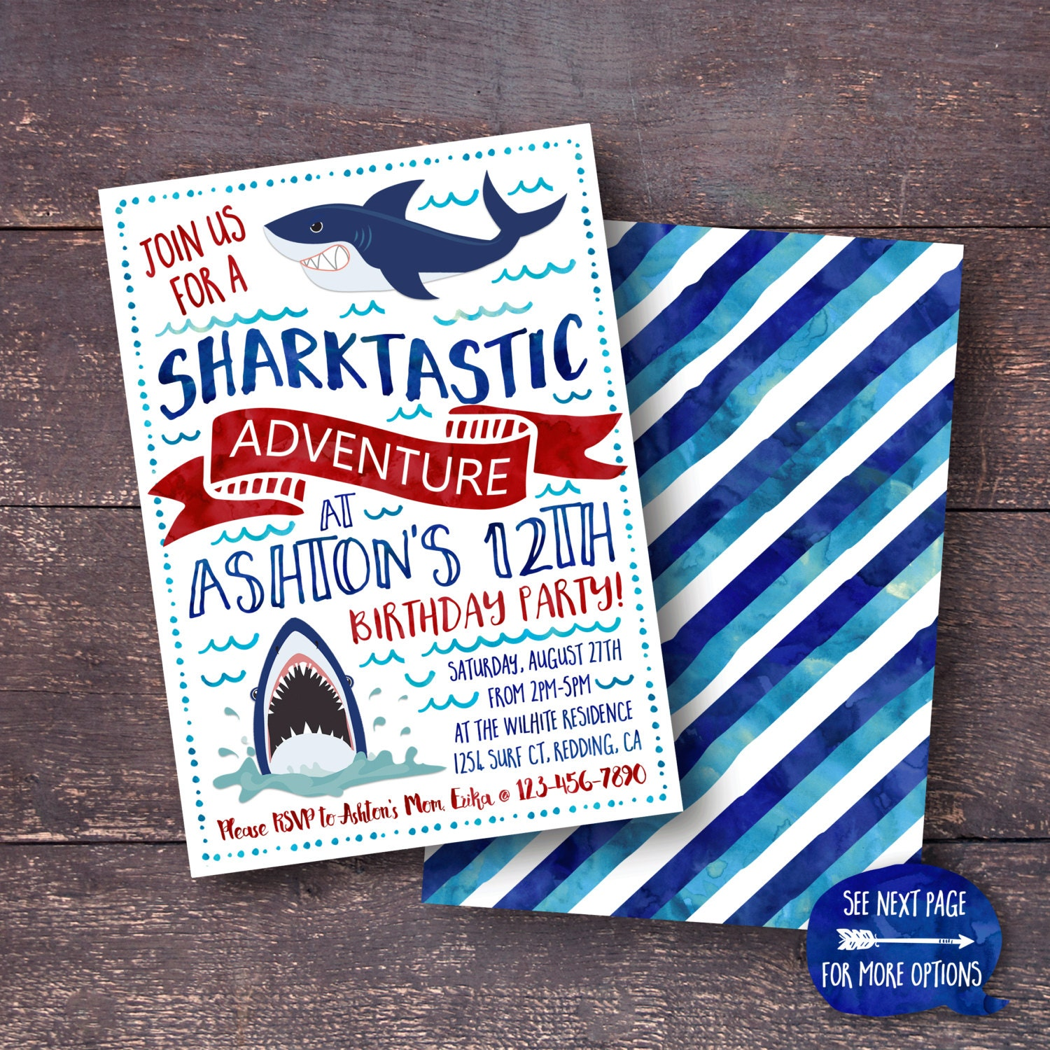Shark birthday party invitation topsimages shark invitation shark birthday invitation shark party etsy jpg 1500x1500 shark birthday party invitation filmwisefo