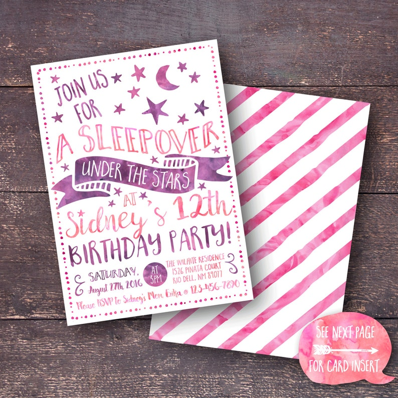 image regarding Printable Sleepover Invitations called Sleepover Invitation, Women Sleepover Invitation, Below the Famous people Invitation, Down below the Superstars Celebration, Printable Sleepover Invitation
