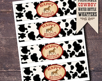 Horse Party Water Bottle Labels, Cowboy Water Bottle Wrappers, Western Party Water Bottle Wrappers, Cowboy Water Bottle Labels, Horse Party