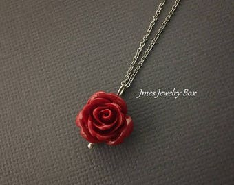 Dark red rose necklace abc99a28f4