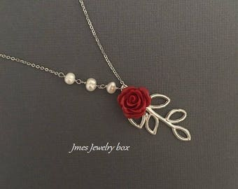 Silver branch necklace with red rose and freshwater pearls, Silver branch necklace, Red rose necklace, Rose branch necklace