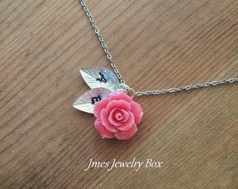 Roses RosePink Necklacepink flower jewelRoseate necklaceJewel Flower RoseateJewelry pink woman pendantnecklace pink