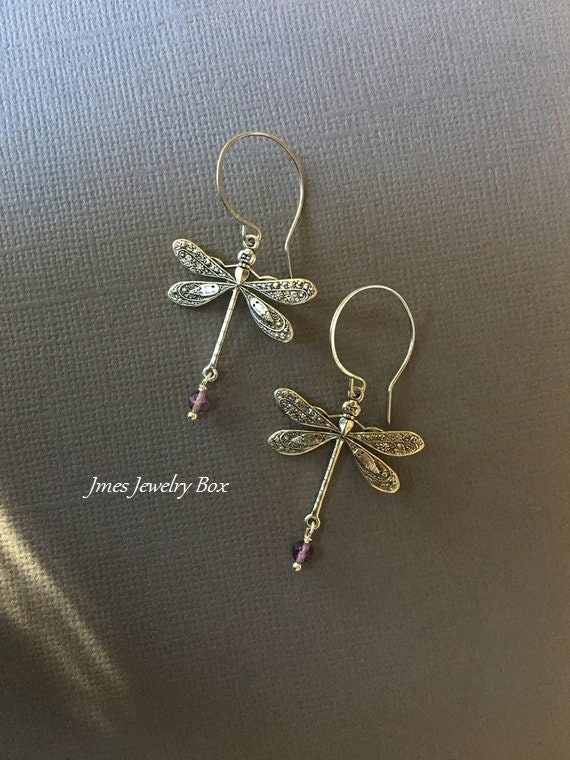 Xtremegems Dragonfly Stud 925 Sterling Silver Earrings Jewelry 30416E Amethyst