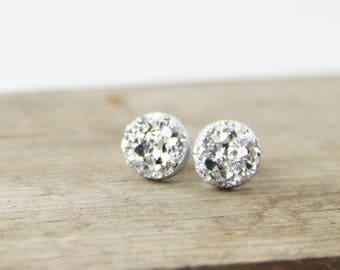 Bright Silver Druzy Stud Earrings