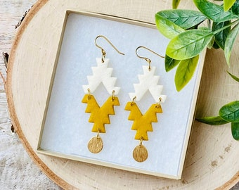 Southwest Polymer Clay Earrings - Mustard Yellow and Cream