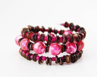 Pink and Brown Shell Beaded Memory Wire Bracelet