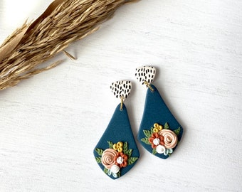 The Betty Collection - Fall Floral Teardrop Polymer Clay Earrings #2 - with Black and White Polka Dot Top