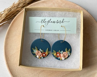 The Betty Collection -Fall Floral Hoop Polymer Clay Earrings - Large Size #2