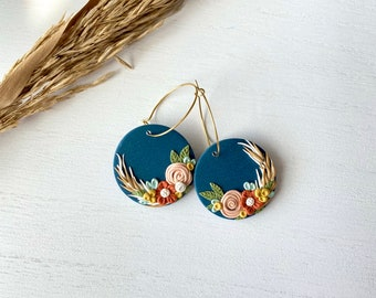 The Betty Collection -Fall Floral Hoop Polymer Clay Earrings - Large Size #1