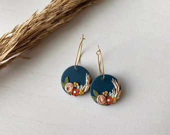 The Betty Collection - Fall Floral Hoop Polymer Clay Earrings with Feathers- Small Size #1