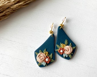 The Betty Collection - Fall Floral Teardrop Polymer Clay Earrings #1