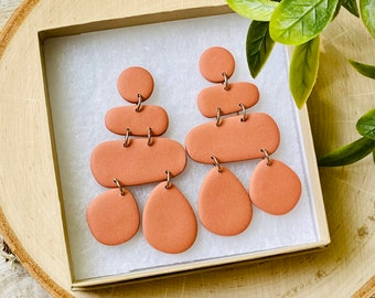 Organic Shape Polymer Clay Earrings - Terra Cotta