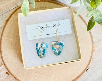 Blue Marble Hoop Polymer Clay Earrings - With Resin Finish