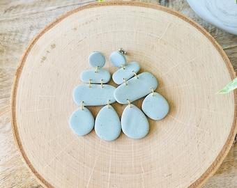 Organic Shape Polymer Clay Earrings - Pale Blue