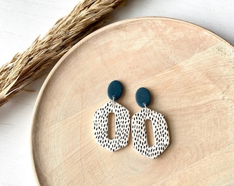 The Betty Collection - Fall Polka Dot Polymer Clay Earrings #1 - with Midnight Blue Top