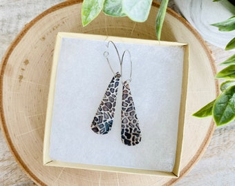 Black/Brown Pebble Texture Teardrop Polymer Clay Earrings - With Resin Finish