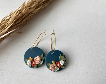 The Betty Collection - Fall Floral Hoop Polymer Clay Earrings - Small Size #2